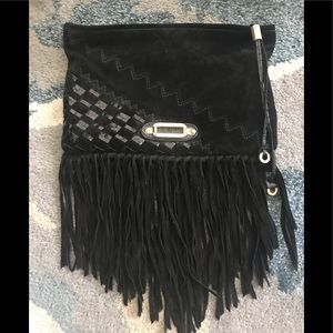 Authentic jimmy choo blk suede fringe clutch